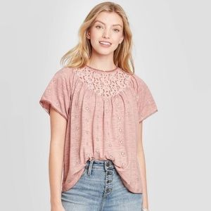 Knox Rose Dusty Rose Lace Top